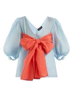 Anna October Contrast-bow detailed cotton-blend blouse