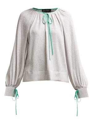 Anna October Contrast Piped Silk And Lamé Blouse