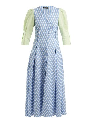 Anna October Contrast-sleeve striped linen dress