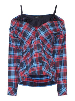 Anna October Off-the-shoulder plaid top