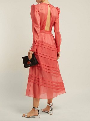 Anna October Pintuck Long Sleeved Midi Dress