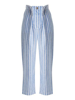 Anna October Striped pintucked linen trousers