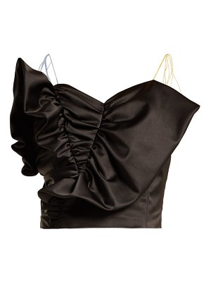 Anna October Tassel Tie Ruffled Satin Bustier Top