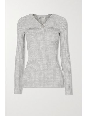 Anna Quan laila cutout embellished ribbed cotton-jersey top