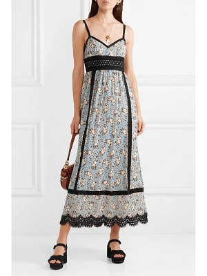 Anna Sui corded lace and grosgrain-trimmed printed silk-chiffon midi dress