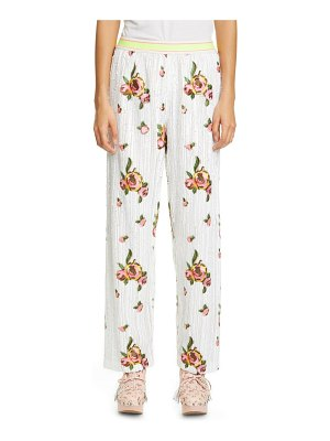 Anna Sui embroidered rose sequin pants
