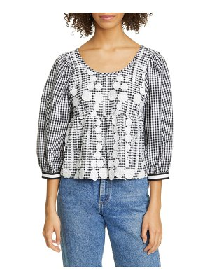 Anna Sui floral embroidered gingham top