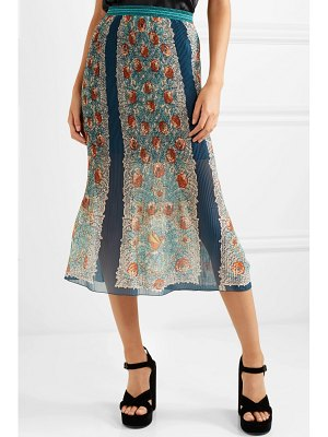 Anna Sui flower child printed plissé silk-chiffon skirt