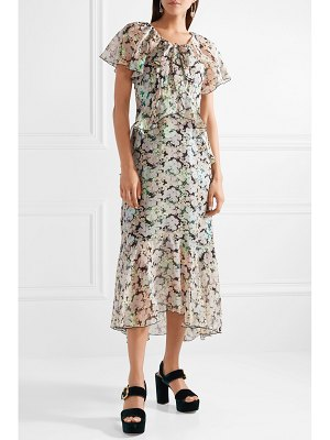 Anna Sui night bloom printed fil coupé silk-blend chiffon midi dress