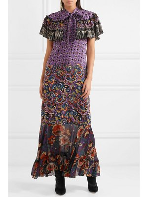 Anna Sui printed silk crepe de chine and georgette maxi dress