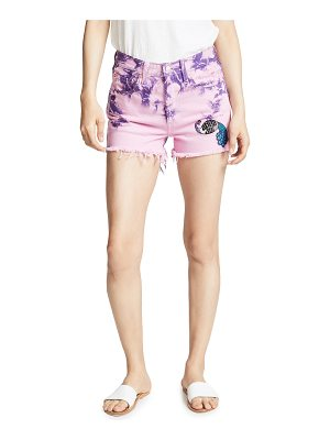 Anna Sui tie dye peacock patch shorts