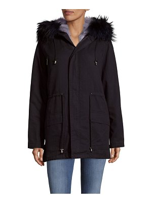 Annabelle New York Drawstring Fur Trimmed Coat
