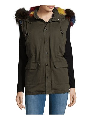 Annabelle New York Fox Fur Cotton Hooded Vest