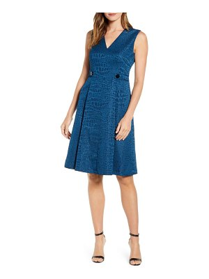 Anne Klein croc jacquard fit & flare dress