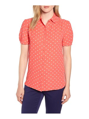 Anne Klein dot print button-up blouse