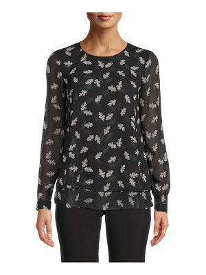 Anne Klein leaves double layer blouse
