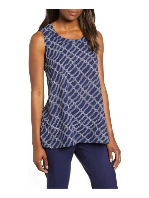 Anne Klein rope print high/low blouse