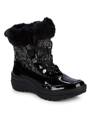 Anne Klein Sport Sport Gaya Faux Fur-Trimmed Lace-Up Boots