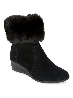 Anne Klein Sport Conscious Suede and Faux Fur-Trimmed Booties