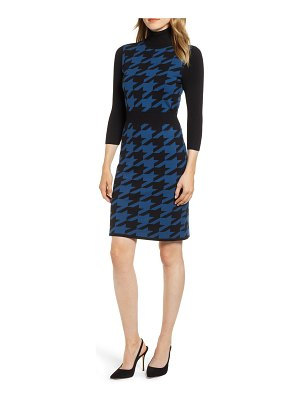 Anne Klein turtleneck houndstooth sweater dress