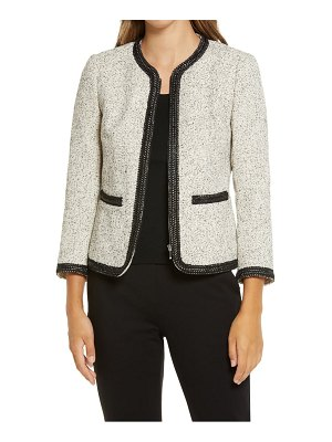 Anne Klein zip front tweed jacket