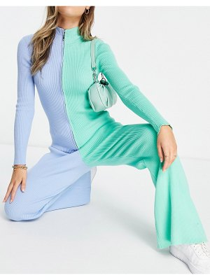 Annorlunda high waisted ribbed flares in color block