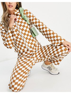 Annorlunda high waisted wide leg pants in checkerboard print set-multi