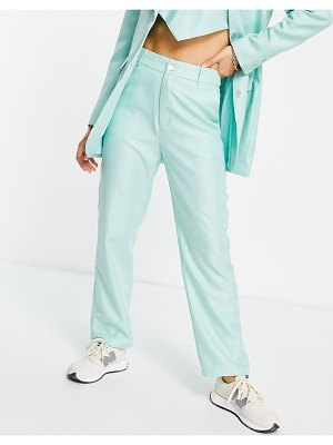 Annorlunda high waisted wide leg pants in green twill set