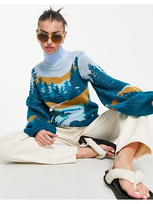 Annorlunda knitted sweater with landscape print-blues