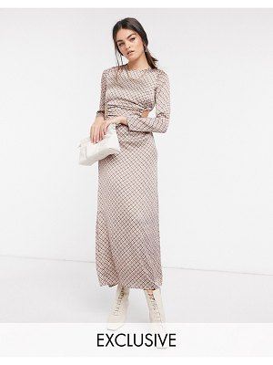 Annorlunda maxi dress with cutouts in colored houndstooth-multi