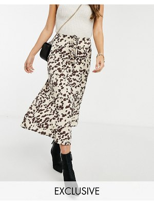 Annorlunda midi skirt in smudged cow print set-cream