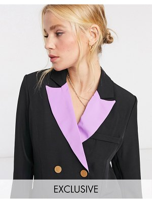 Annorlunda oversized double breasted blazer with purple lapels-black