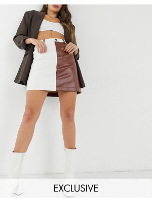 Annorlunda pu skirt in two tone panels-brown