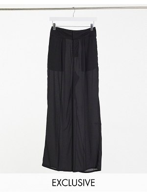 Annorlunda sheer wide leg pants co-ord-black