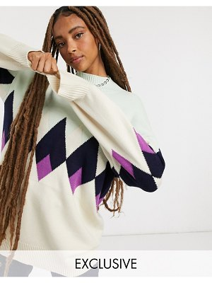 Annorlunda sweater in argyle-multi