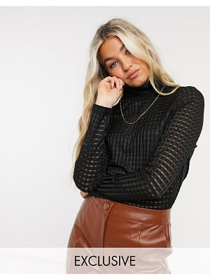Annorlunda turtleneck top in sheer gingham-black