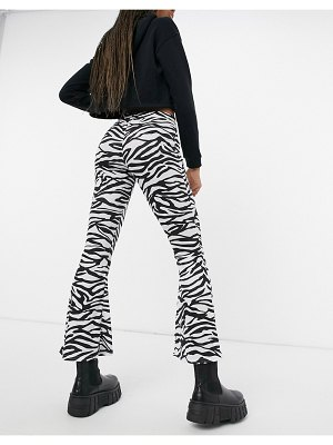 Another Reason high waisted flare pants in monogram zebra-multi