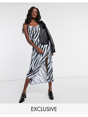 Another Reason maxi slip dress in tiger print with slit-multi