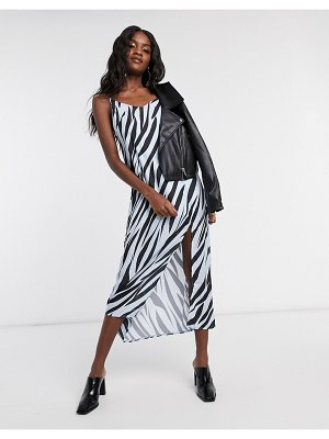 Another Reason maxi slip dress in tiger print with split-multi