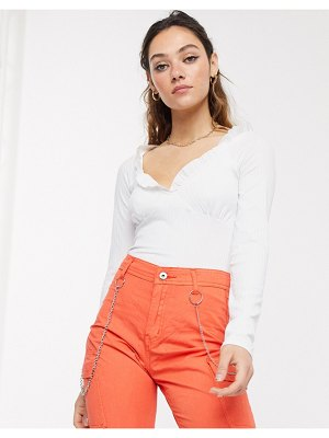 Another Reason milkmaid top with ruffle detail-white