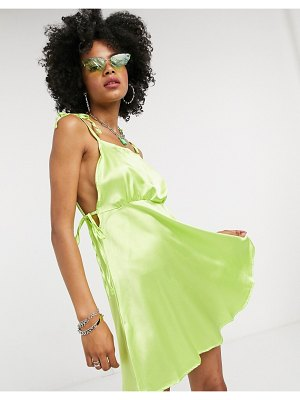 Another Reason mini dress with tie side detail-green