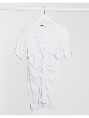 Another Reason mini t-shirt dress with knot front-white