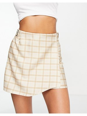 Another Reason mini wrap skirt with buckle detail in plaid jacquard-neutral