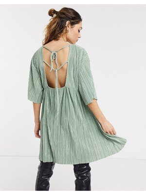 Another Reason plisse babydoll dress with tie up back detail-green