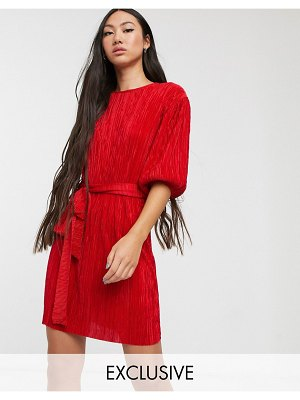 Another Reason plisse t-shirt dress with tie waist-red