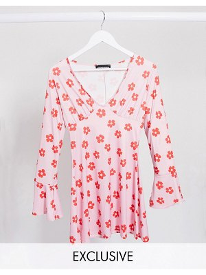 Another Reason plunge mini dress in floral print-pink