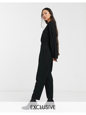 Another Reason relaxed jumpsuit with open back and ruched detail-black