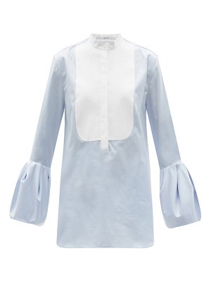 Another Tomorrow bell-sleeve cotton-poplin blouse