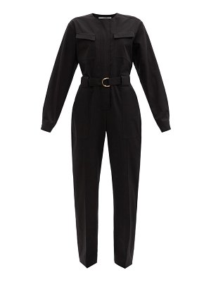 Another Tomorrow belted organic cotton-blend jumpsuit