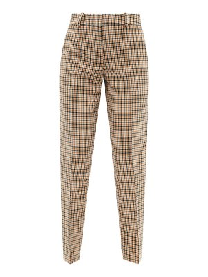 Another Tomorrow checked cotton-blend tapered-leg trousers